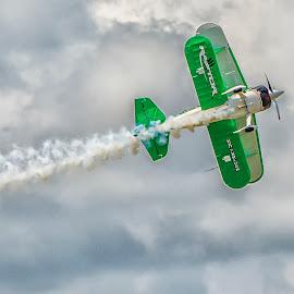 Biplane roll by Joe Saladino - Transportation Airplanes ( aerial acrobatic, airshow, airplane, smoke, biplane )