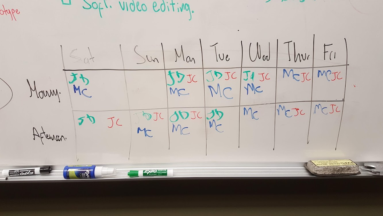 Photo of Schedule on Whiteboard