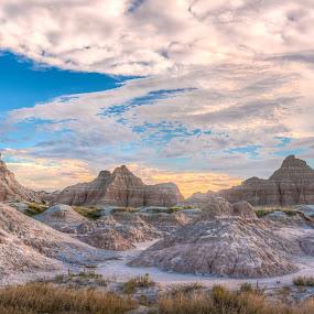 Evening in the Badlands by Craig Pifer - Landscapes Mountains & Hills ( clouds, nps, badlands national park, hills, wilderness, national park, park, sunset, south dakota, landscape, badlands, evening )