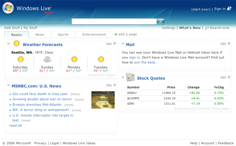 Windows Live homepage