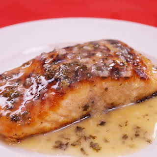 Pan Seared Salmon With Lemon Butter Sauce.