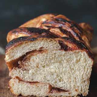 Rhubarb and Red Currant Jam Swirled Bread.