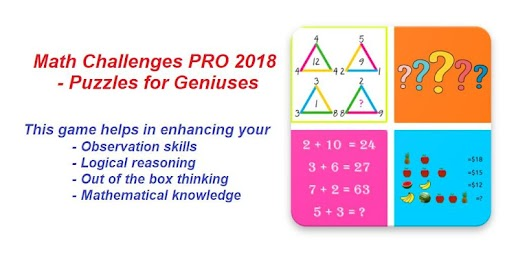 Math Challenges PRO 2018 - Puzzles for Geniuses APK