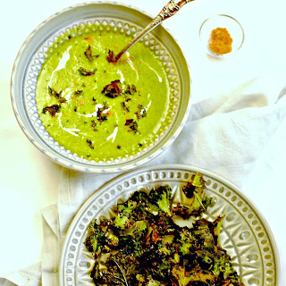 Burn's Night Creamy Kale Soup with 'Salt n Sauce' Kale Crisps