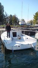Photo: le tableau arrière bien au dessus de l'eau ... bon le bateau est vide