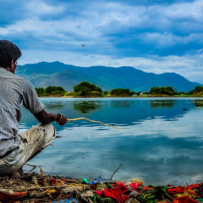 Fishing Time by Gowri Shankar - Landscapes Mountains & Hills ( hills, mountain, people., lake )