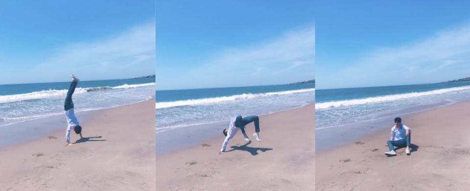 mingyu beach backflip...kinda