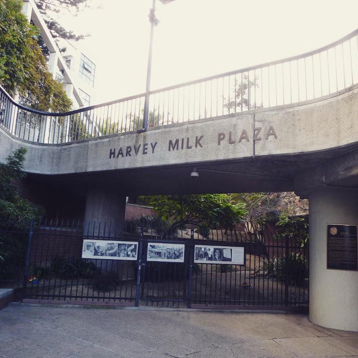 The entrance to the Muni station in Harvey Milk Plaza.