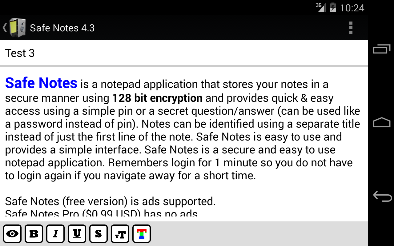 Safe Notes Pro Secure NotePad- screenshot