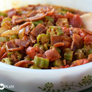 Tomatoes, Okra, and Bacon Side Dish.