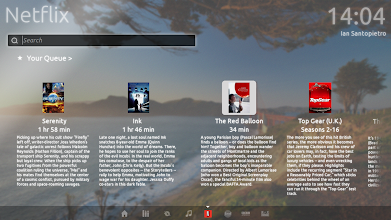 Photo: An example of a third-party lens; Netflix in this case. Here, it's showing me my Queue, but that would be up to the developer. Note the hint at additional content on the right.