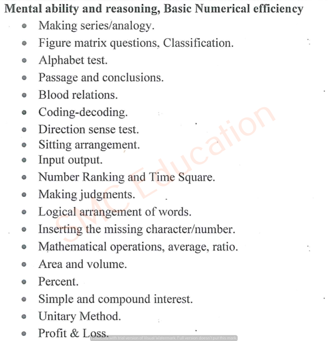 RSMSSB Patwari Mental Ability & Reasoning Syllabus