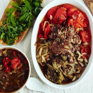 Slow Cooker Beef Tenderloin with Eggplant and Tomatoes