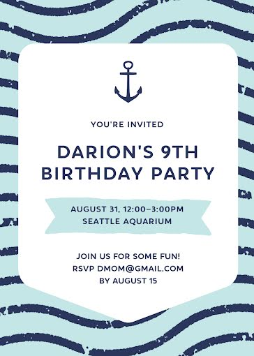 Darion's 9th Birthday - Birthday Card Template