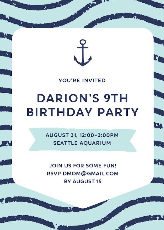 Darion's 9th Birthday - Birthday Card Template