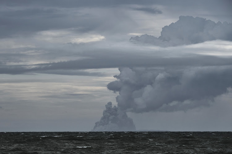 BANTEN, INDONESIA: The Anak Krakatau volcano erupts in a massive cloud of hot gasses and ash on December 28, 2018 off the coast of Banten, Indonesia. Picture: ED WRAY / GETTY IMAGES