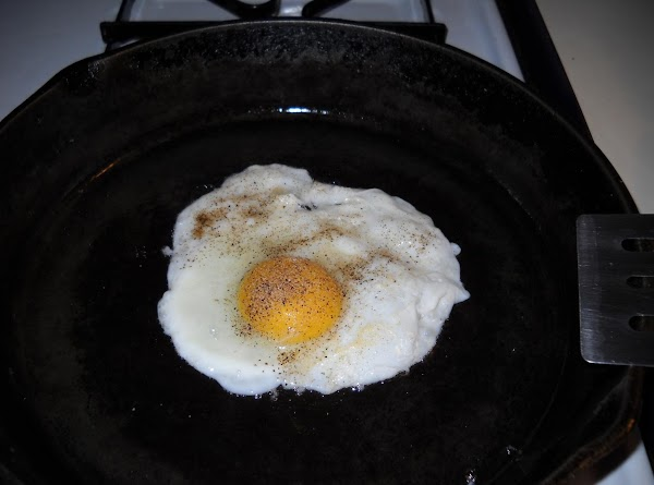 Step two: Fry up a couple of eggs, however you like them. I did...