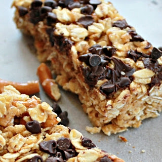 No Bake Peanut Butter Chocolate Chip Pretzel Granola Bars
