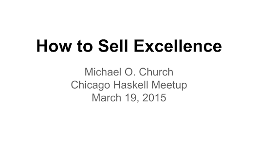 How to Sell Excellence (19 March 2015)