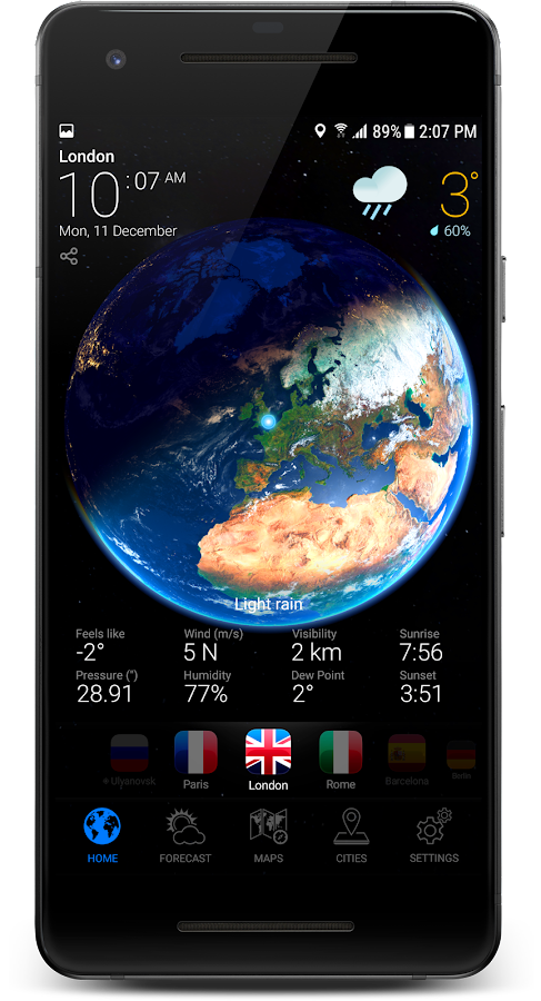 3D Earth - Weather Forecast with Animated Maps USA- screenshot