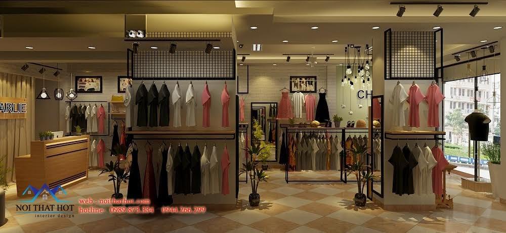 thiết kế shop thời trang không gian thoáng