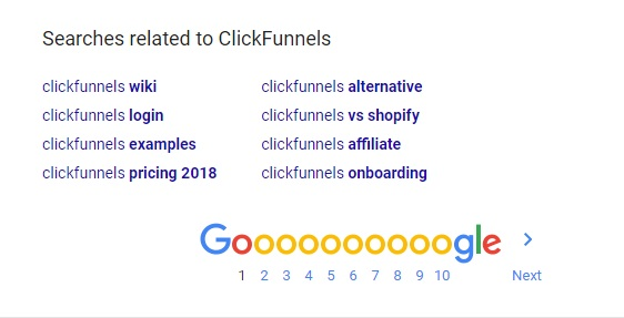Searches related to ClickFunnels at the bottom of Google page.