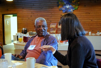 Photo: Prov. IV President, Richard Miller listening to Nan Ross, Director of Communications from the Diocese of Atlanta.