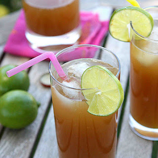 Rum Punch with Ginger Beer & Pineapple Juice.