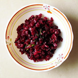 Stir Fried Beetroot With Onion and Curry Leaves