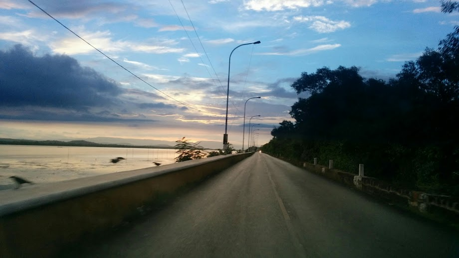 Driving along the Ribandar causeway.