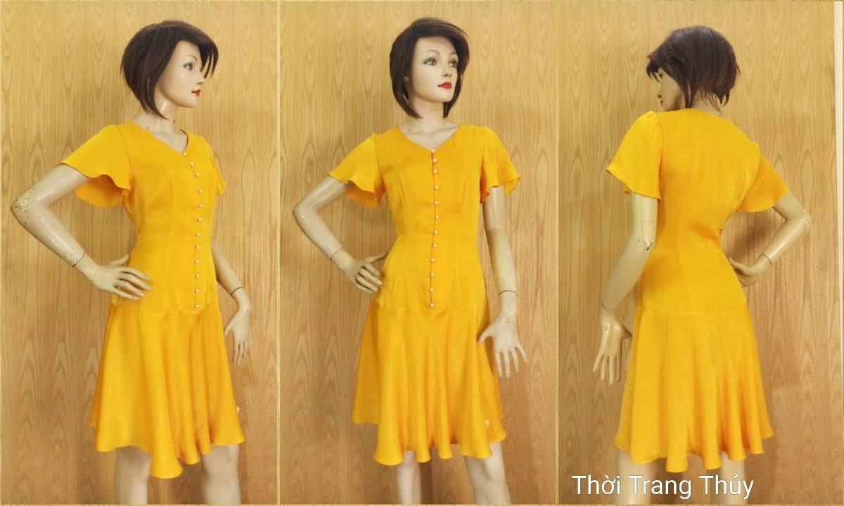 Váy xoè tay loe vải lụa màu vàng V687 thời trang thuỷ