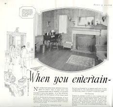 Photo: from an ad for Ritter Appalachian oak floors.fashionable rooms of the 20's and 30's were much less cluttered than they were in decades before or after.