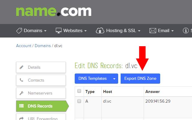 Name.com DNS Export