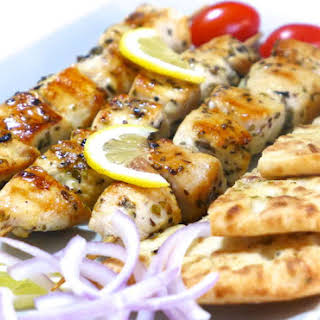 Chicken Souvlaki recipe (Skewers) with Pita Bread.