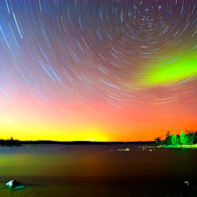 Star Trails with a Touch of the Northern Lights by Shixing Wen - Landscapes Starscapes ( night photography, boulder lake, aurora borealis, northern lights, landscape photography, duluth mn, star trails )