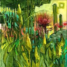 "Photo: ""Hide and Seek"", acrylic on canvas 12"" x 12"", © Nancy Roberts"