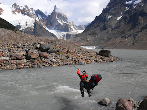 Photo: River-crossing on the way to Cerro Torre