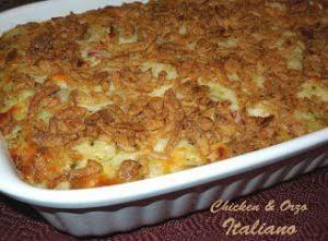 """Click Here for Recipe: Chicken And Orzo Italiano """"Chicken casseroles span the..."""