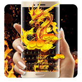 Fire Dragon Gold Flame Neon Keyboard