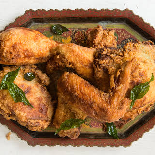 Kerala-Style Fried Chicken with Coconut Oil and Curry Leaves.