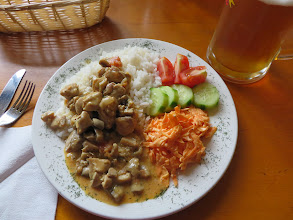 Photo: Chicken & mushrooms over rice at Bufet