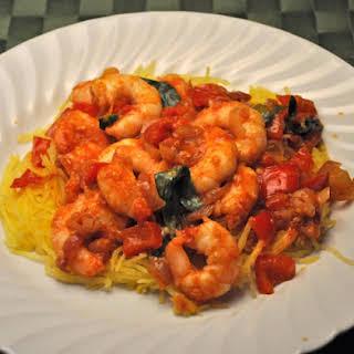 Shrimp Arrabbiata on Spaghetti Squash.