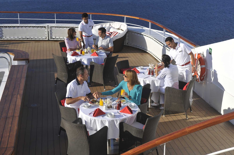Enjoy al fresco dining with stellar service on board Le Boreal, a Ponant yacht.