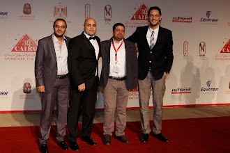 Photo: The opening of Decor at Cairo International Film Festival, The Red Carpet. Dir: Ahmad Abdalla with the Line Producer Ahmed Farghaly, Exc Producer Ahmed Badawy, and Khaled Abol Naga.