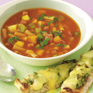 Minestrone Soup with Pesto and Cheese Flatbread
