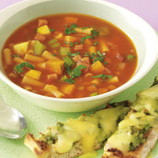 Minestrone Soup with Pesto and Cheese Flatbread.
