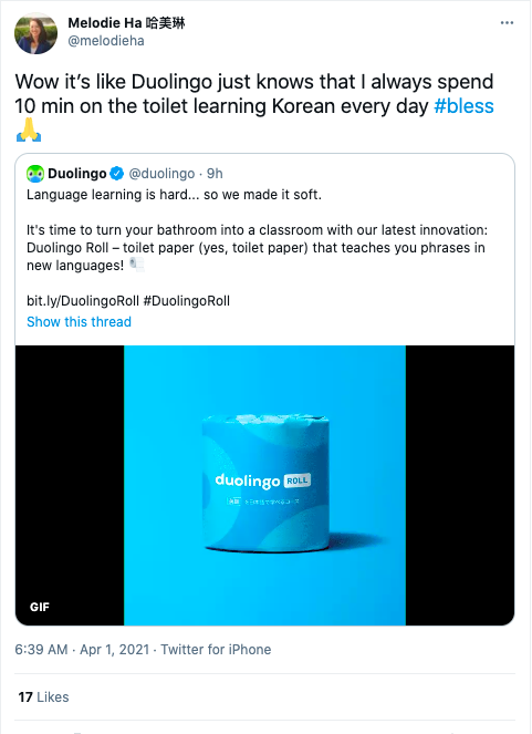 April Fools Duolingo Toilet Paper Misbar