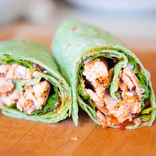 Sweet Chili Salmon Wrap.