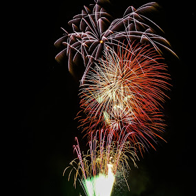 Pier Fireworks by Phil Clarkstone - Public Holidays July 4th ( bursts, sea, pier, fireworks, reflections )