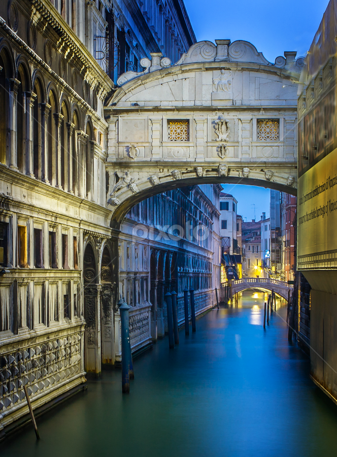 Bridge of Sighs by Gary Beresford - Buildings & Architecture Bridges & Suspended Structures ( famous landmarks, bridge of sighs, venice, reflections, long exposure, night, canal, italy, bridge )